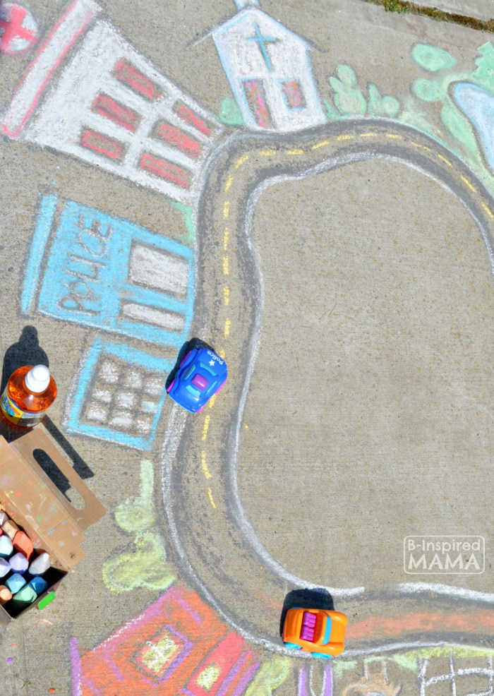 Fun and Easy Sidewalk Chalk Art for Kids to PLAY In Playing Cars in a Giant Sidewalk Chalk Town at B Inspired Mama