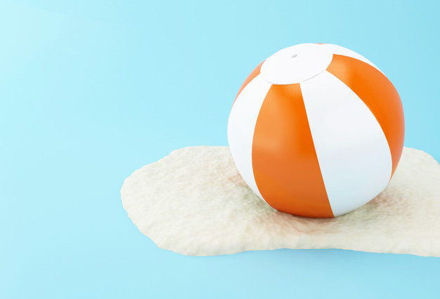 3d beach ball on sand 58466 1378