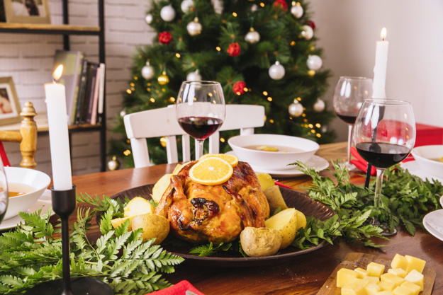 christmas dinner with turkey and glasses of wine 23 2147716324