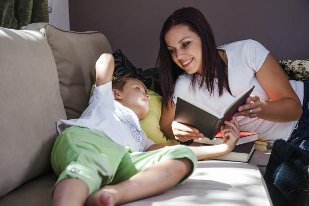 woman with son reading books 23 2147664123